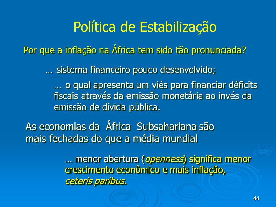 44 Por que a inflação na África tem sido tão pronunciada? … sistema financeiro pouco desenvolvido; … o qual apresenta um viés para financiar déficits