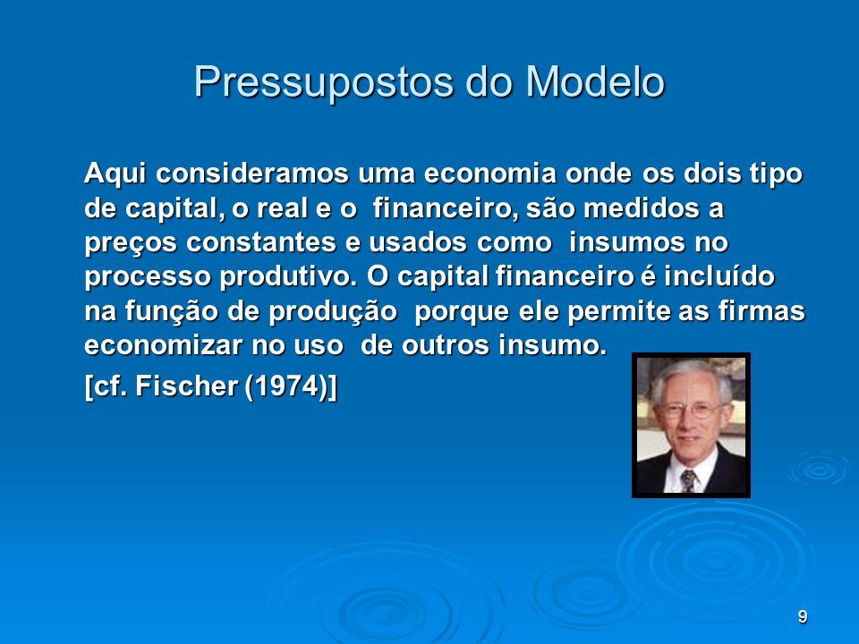 9 Pressupostos do Modelo Aqui consideramos uma economia onde os dois tipo de capital, o real e o financeiro, são medidos a preços constantes e usados