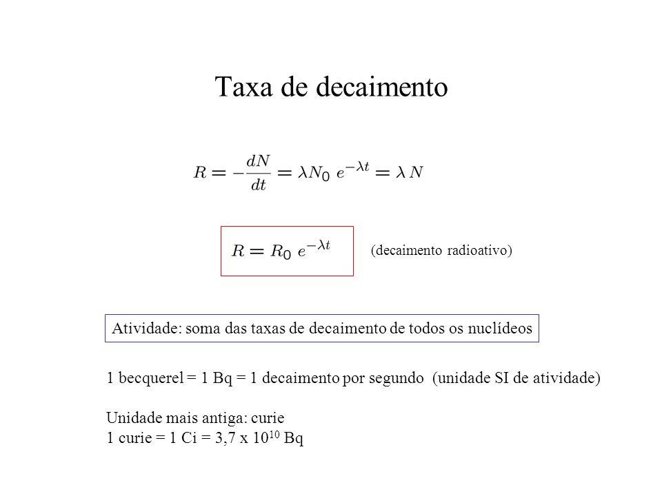 Taxa de decaimento (decaimento radioativo) Atividade: soma das taxas de decaimento de todos os nuclídeos 1 becquerel = 1 Bq = 1 decaimento por segundo