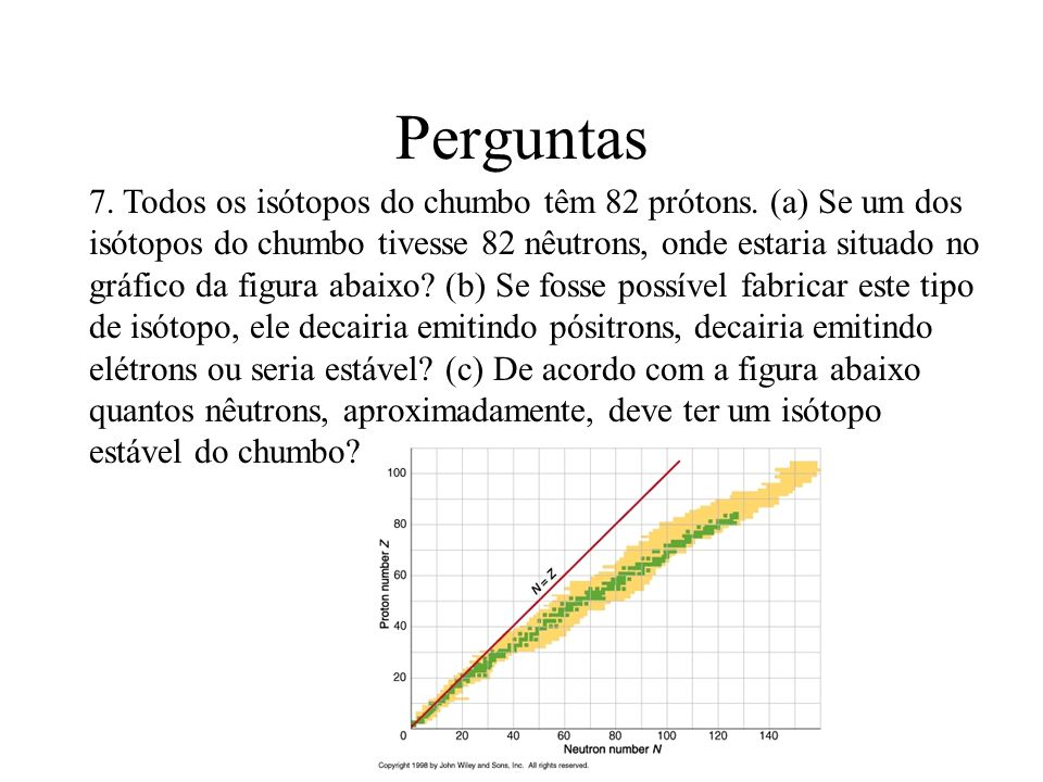 Perguntas 7. Todos os isótopos do chumbo têm 82 prótons. (a) Se um dos isótopos do chumbo tivesse 82 nêutrons, onde estaria situado no gráfico da figu
