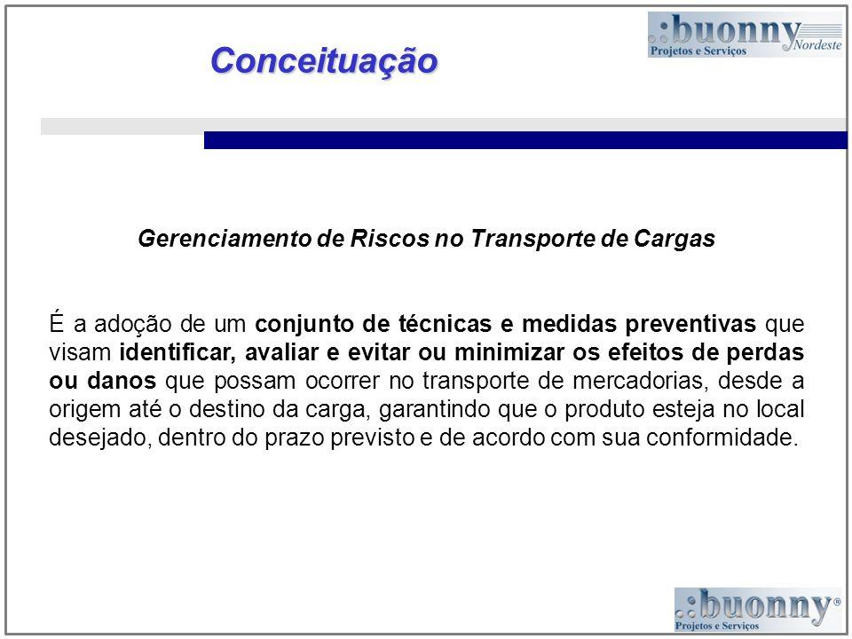 Conceituação Gerenciamento de Riscos no Transporte de Cargas É a adoção de um conjunto de técnicas e medidas preventivas que visam identificar, avalia
