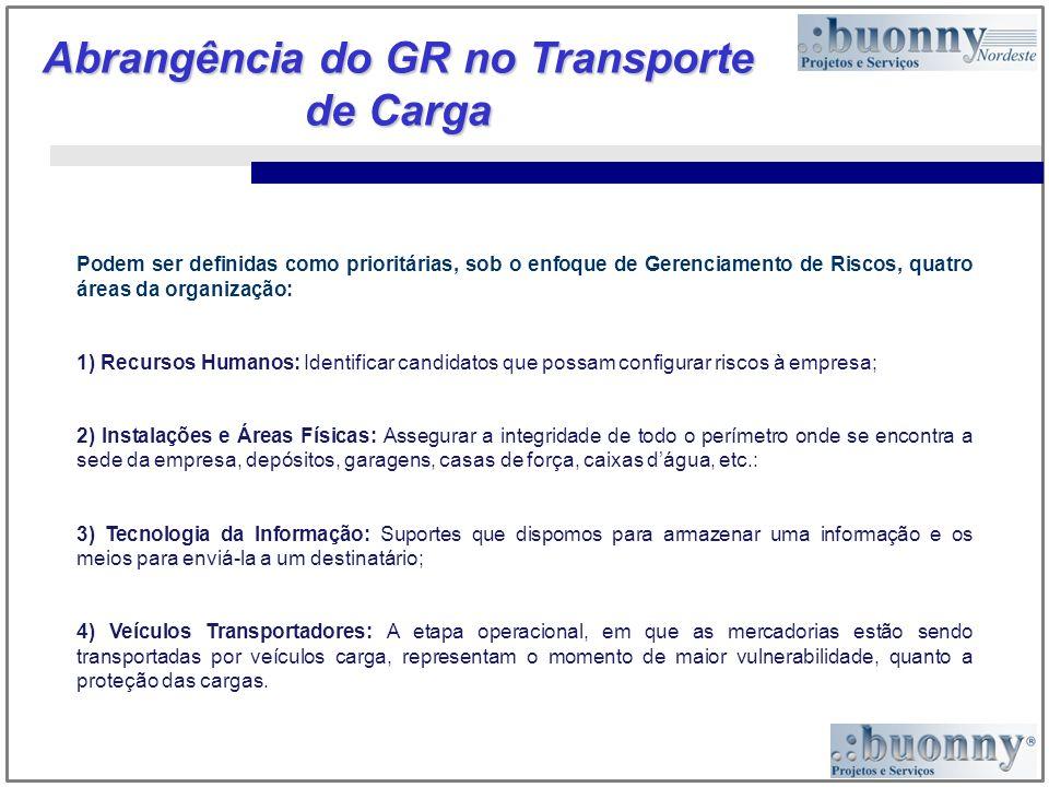Abrangência do GR no Transporte de Carga Podem ser definidas como prioritárias, sob o enfoque de Gerenciamento de Riscos, quatro áreas da organização: