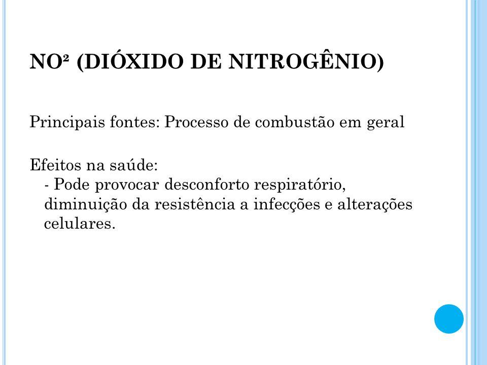 NO² (DIÓXIDO DE NITROGÊNIO) Principais fontes: Processo de combustão em geral Efeitos na saúde: - Pode provocar desconforto respiratório, diminuição d