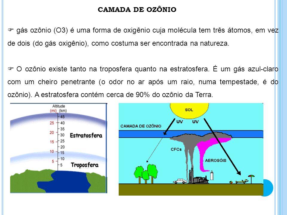 CAMADA DE OZÔNIO gás ozônio (O3) é uma forma de oxigênio cuja molécula tem três átomos, em vez de dois (do gás oxigênio), como costuma ser encontrada
