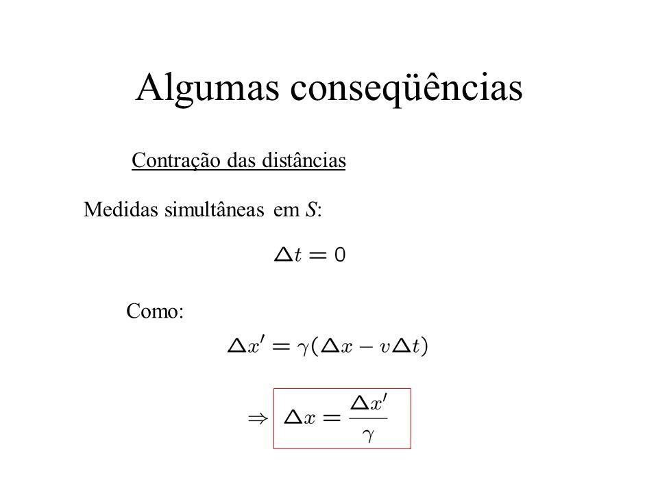 Algumas conseqüências Contração das distâncias Medidas simultâneas em S: Como: