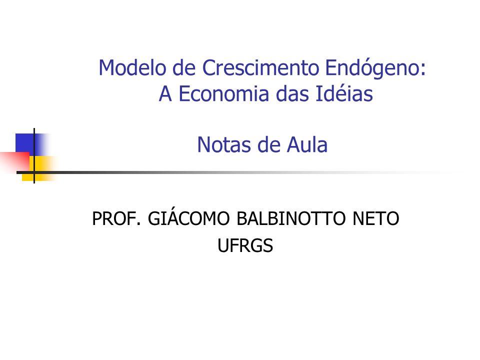 Modelo de Crescimento Endógeno: A Economia das Idéias Notas de Aula PROF. GIÁCOMO BALBINOTTO NETO UFRGS