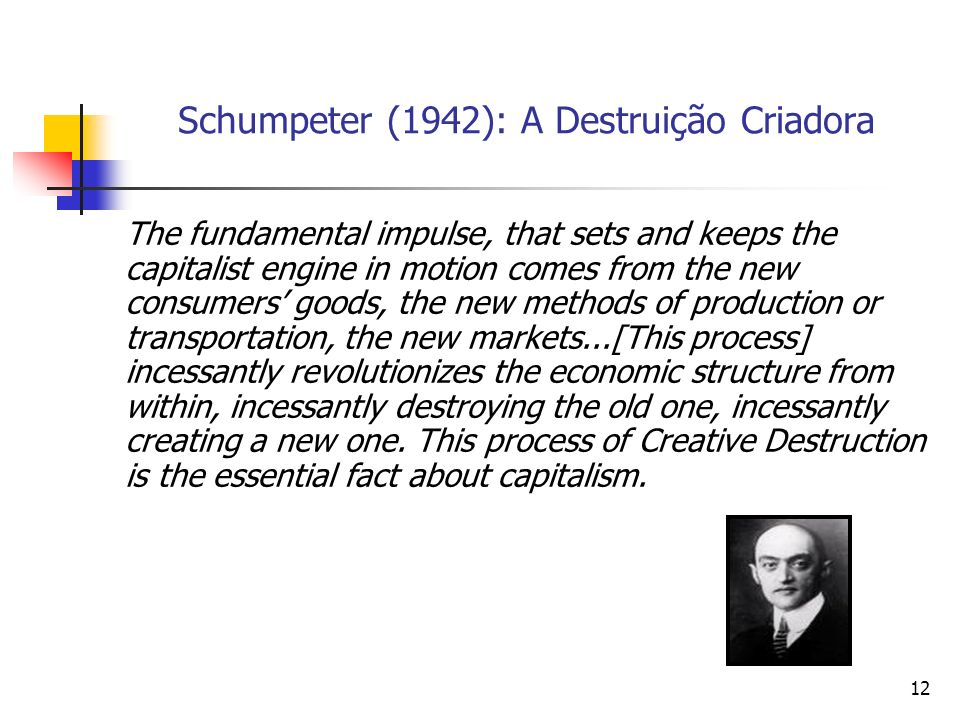 12 Schumpeter (1942): A Destruição Criadora The fundamental impulse, that sets and keeps the capitalist engine in motion comes from the new consumers goods, the new methods of production or transportation, the new markets...[This process] incessantly revolutionizes the economic structure from within, incessantly destroying the old one, incessantly creating a new one.