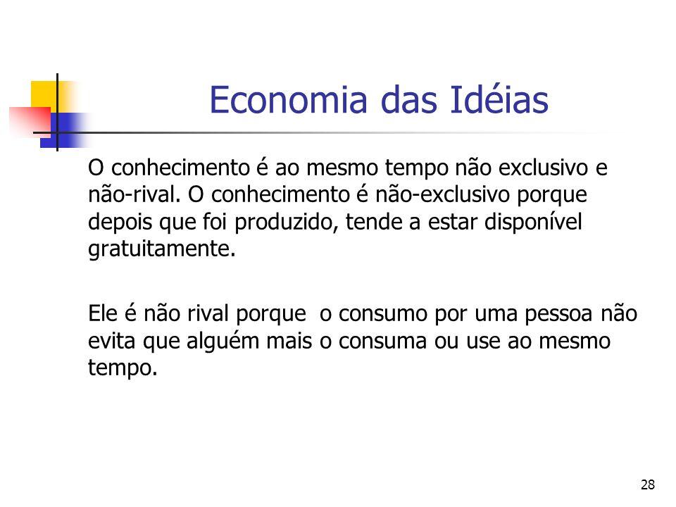 28 Economia das Idéias O conhecimento é ao mesmo tempo não exclusivo e não-rival. O conhecimento é não-exclusivo porque depois que foi produzido, tend
