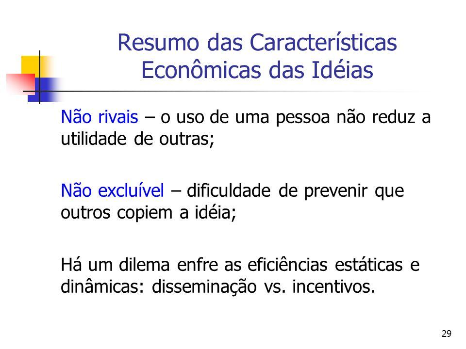 29 Resumo das Características Econômicas das Idéias Não rivais – o uso de uma pessoa não reduz a utilidade de outras; Não excluível – dificuldade de p