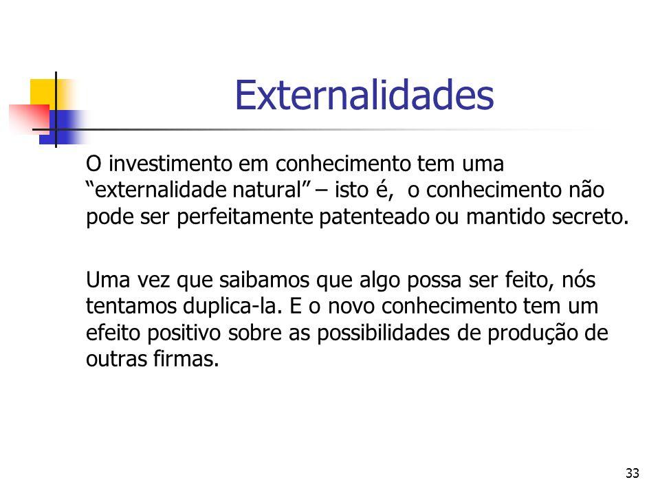 33 Externalidades O investimento em conhecimento tem uma externalidade natural – isto é, o conhecimento não pode ser perfeitamente patenteado ou manti
