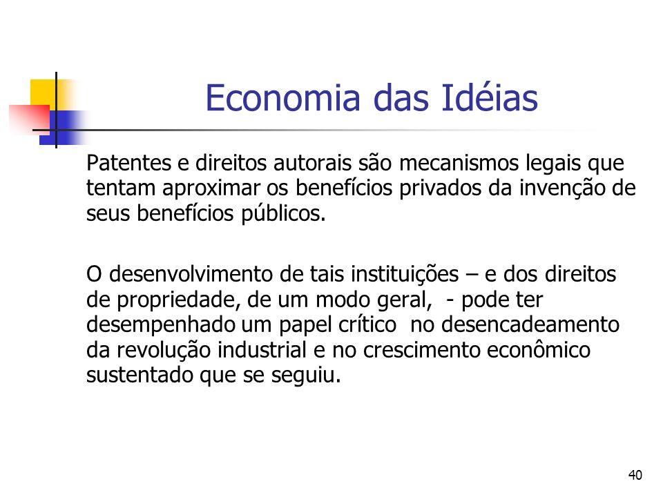 40 Economia das Idéias Patentes e direitos autorais são mecanismos legais que tentam aproximar os benefícios privados da invenção de seus benefícios públicos.