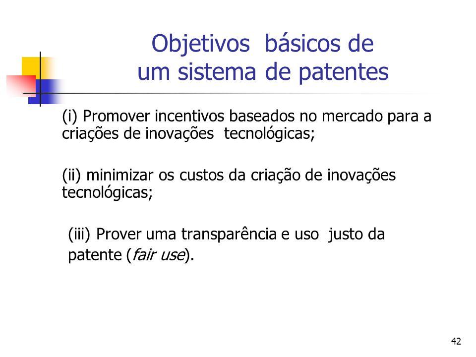 42 Objetivos básicos de um sistema de patentes (i) Promover incentivos baseados no mercado para a criações de inovações tecnológicas; (ii) minimizar os custos da criação de inovações tecnológicas; (iii) Prover uma transparência e uso justo da patente (fair use).