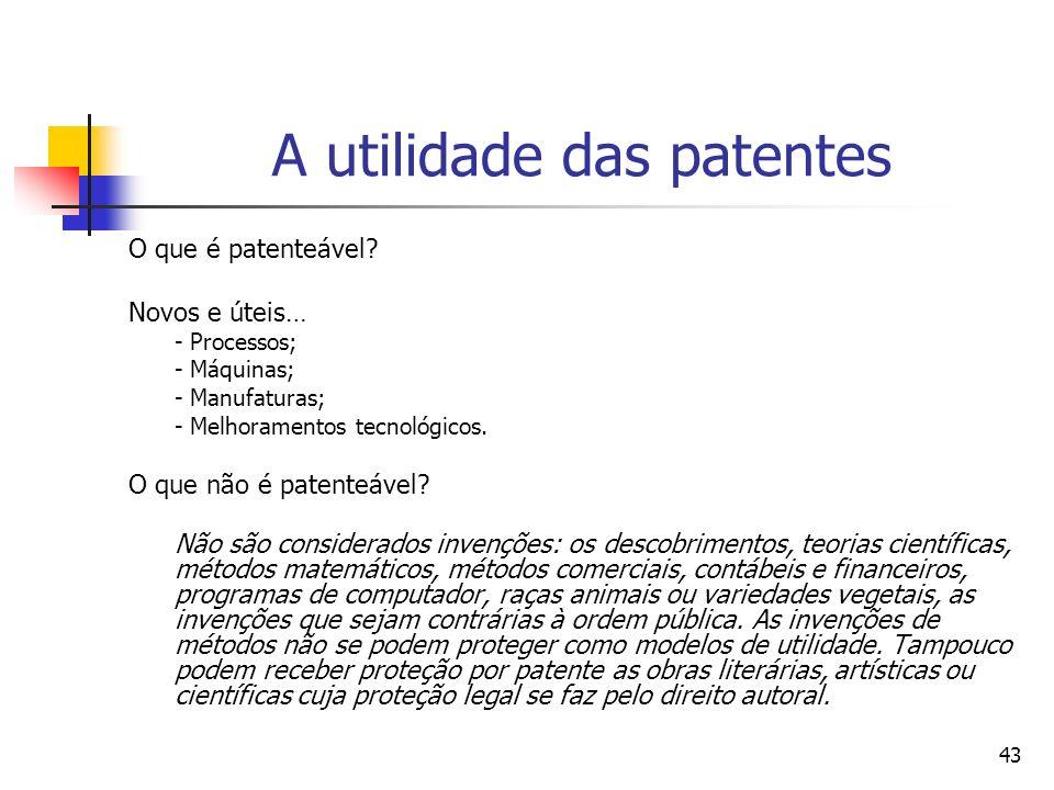 43 A utilidade das patentes O que é patenteável? Novos e úteis… - Processos; - Máquinas; - Manufaturas; - Melhoramentos tecnológicos. O que não é pate