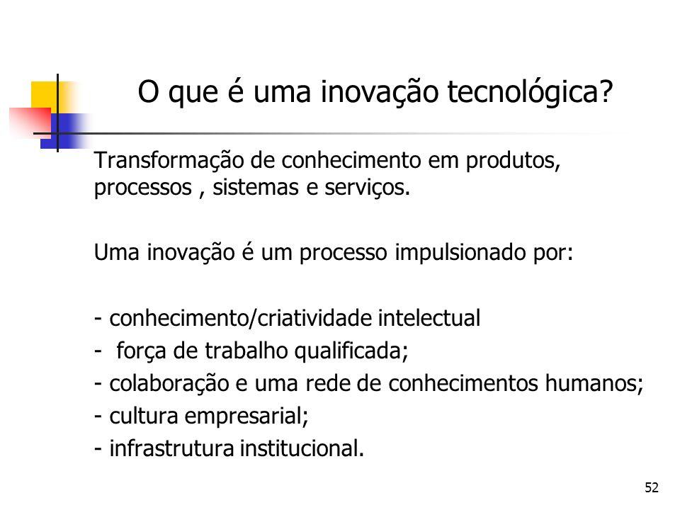 52 O que é uma inovação tecnológica? Transformação de conhecimento em produtos, processos, sistemas e serviços. Uma inovação é um processo impulsionad