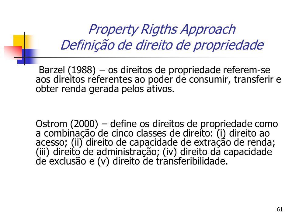 61 Property Rigths Approach Definição de direito de propriedade Barzel (1988) – os direitos de propriedade referem-se aos direitos referentes ao poder de consumir, transferir e obter renda gerada pelos ativos.