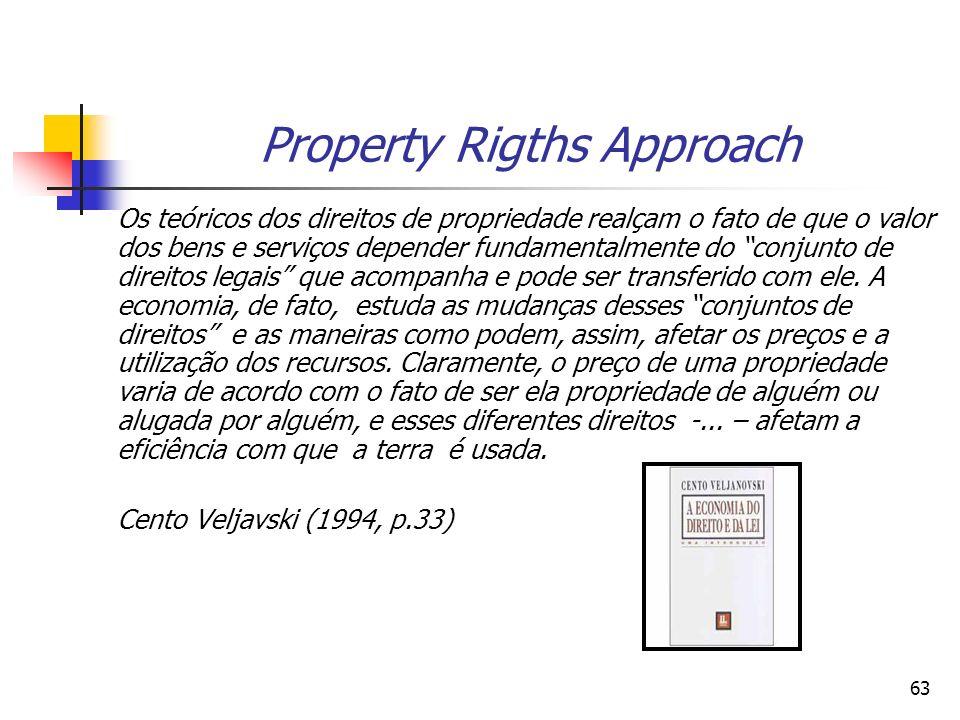 63 Property Rigths Approach Os teóricos dos direitos de propriedade realçam o fato de que o valor dos bens e serviços depender fundamentalmente do conjunto de direitos legais que acompanha e pode ser transferido com ele.