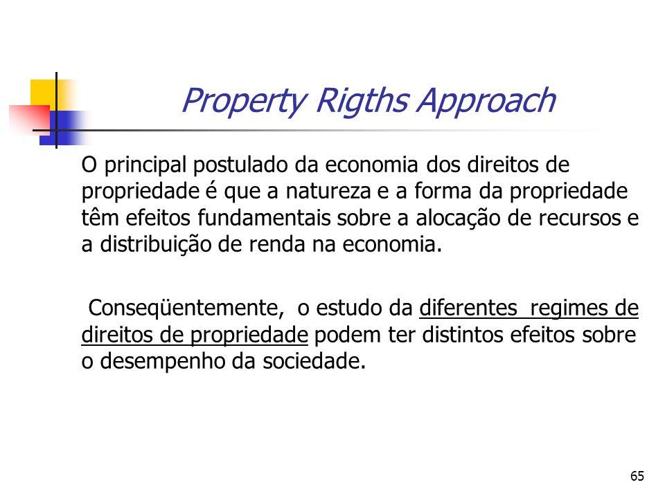 65 Property Rigths Approach O principal postulado da economia dos direitos de propriedade é que a natureza e a forma da propriedade têm efeitos fundamentais sobre a alocação de recursos e a distribuição de renda na economia.