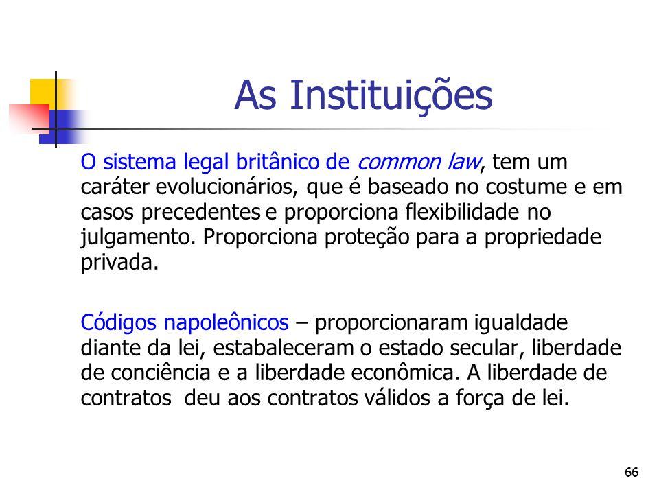 66 As Instituições O sistema legal britânico de common law, tem um caráter evolucionários, que é baseado no costume e em casos precedentes e proporcio