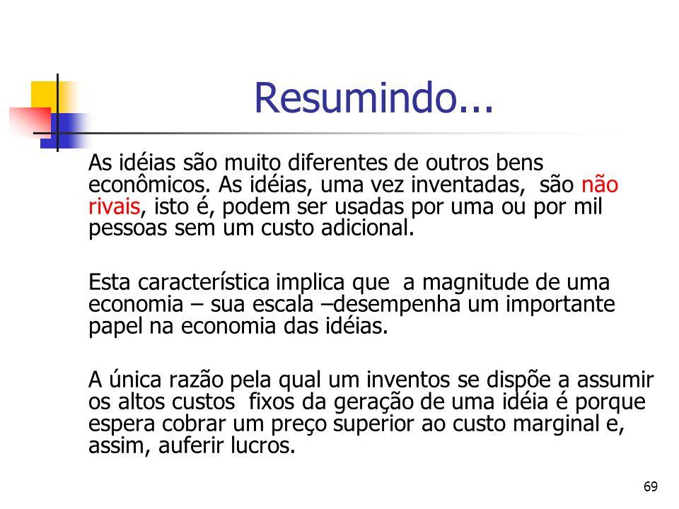 69 Resumindo... As idéias são muito diferentes de outros bens econômicos. As idéias, uma vez inventadas, são não rivais, isto é, podem ser usadas por