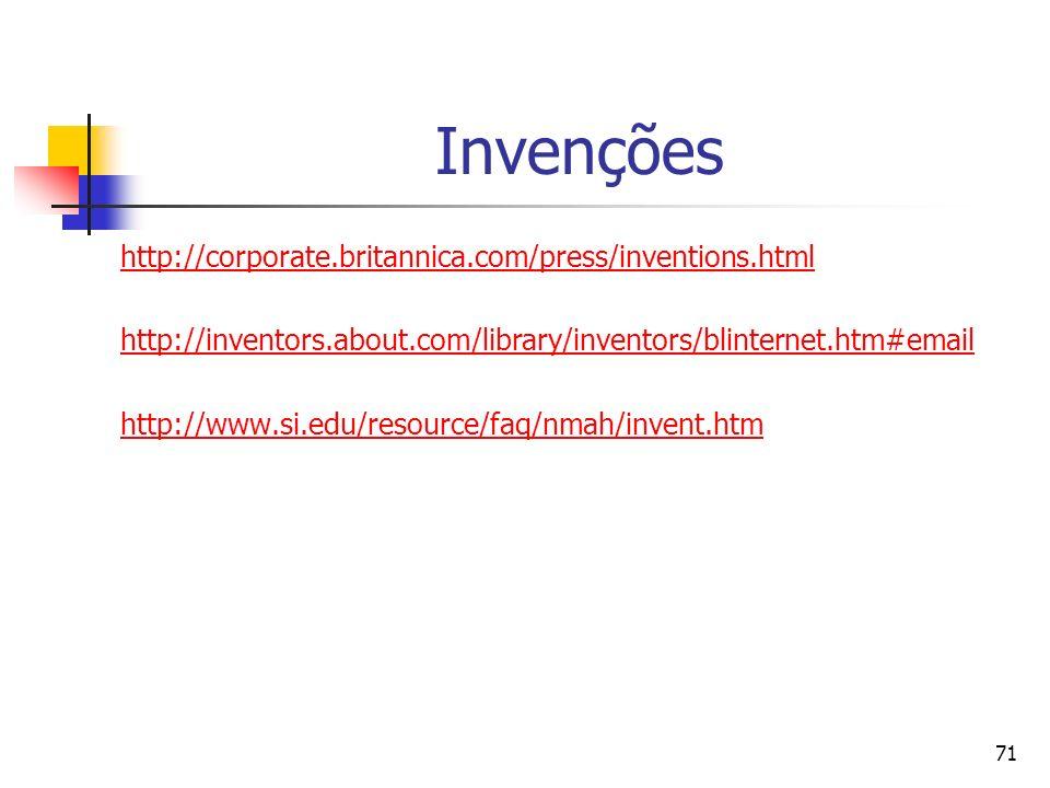 71 Invenções http://corporate.britannica.com/press/inventions.html http://inventors.about.com/library/inventors/blinternet.htm#email http://www.si.edu
