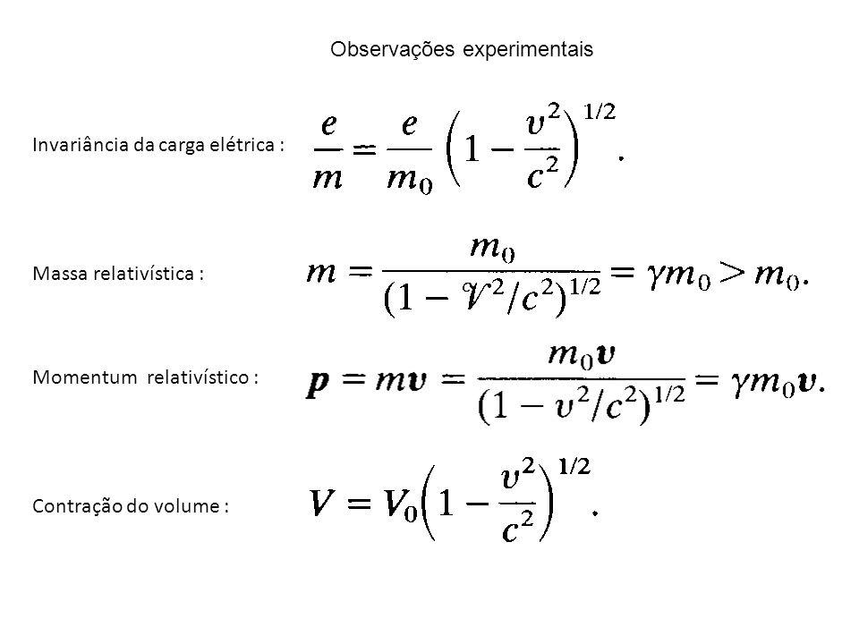 Invariância da carga elétrica : Massa relativística : Momentum relativístico : Contração do volume : Observações experimentais