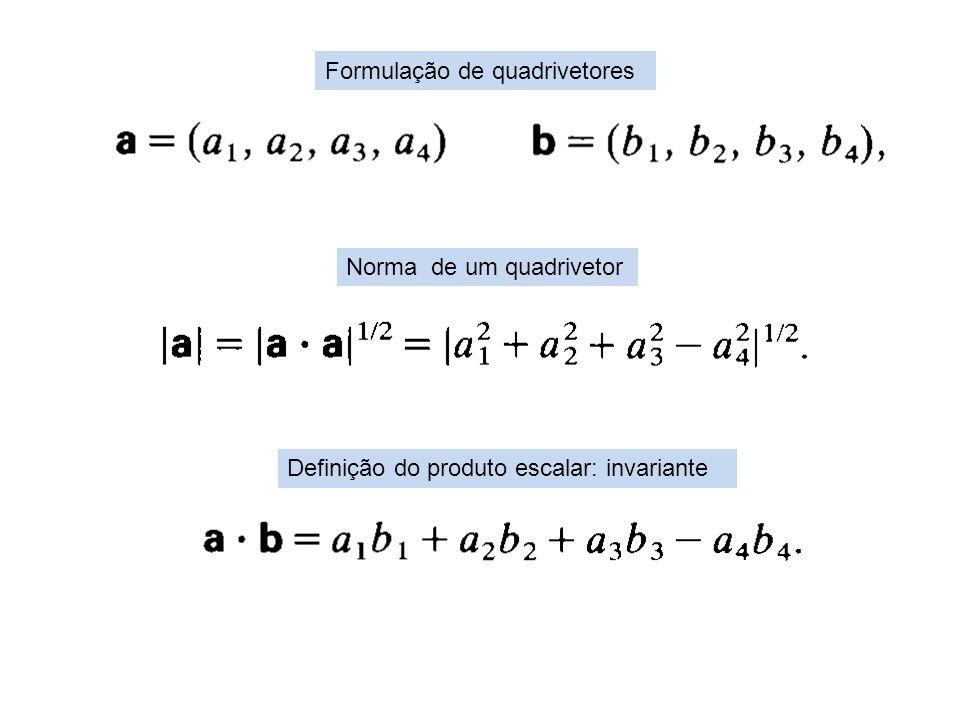 Formulação de quadrivetores Definição do produto escalar: invariante Norma de um quadrivetor