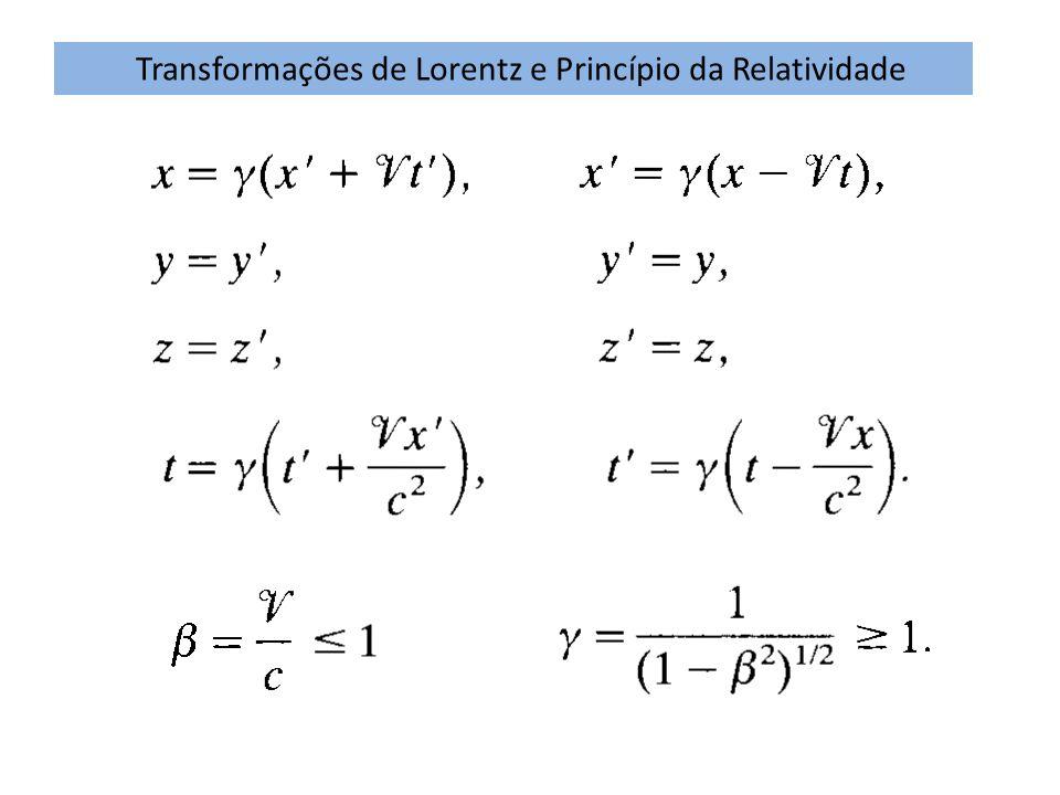 Transformações de Lorentz e Princípio da Relatividade