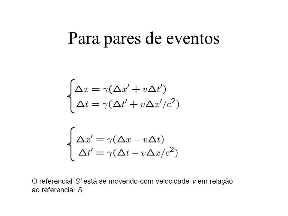 Para pares de eventos O referencial S está se movendo com velocidade v em relação ao referencial S.
