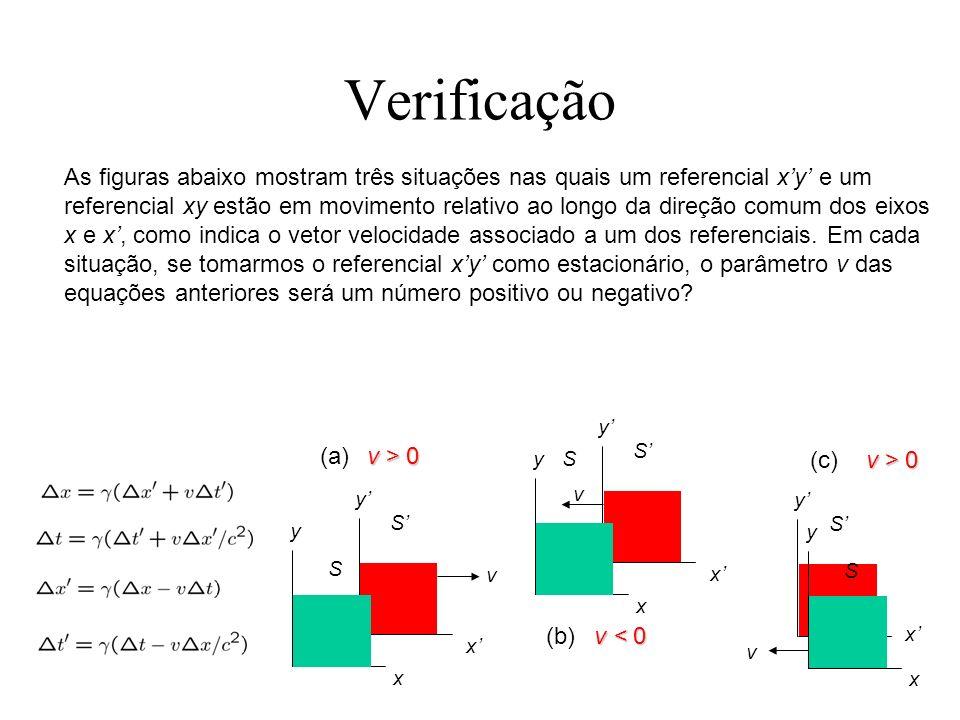 Verificação As figuras abaixo mostram três situações nas quais um referencial xy e um referencial xy estão em movimento relativo ao longo da direção c
