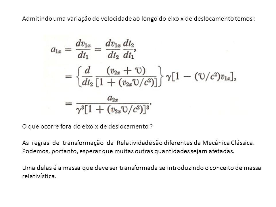 Admitindo uma variação de velocidade ao longo do eixo x de deslocamento temos : O que ocorre fora do eixo x de deslocamento ? As regras de transformaç