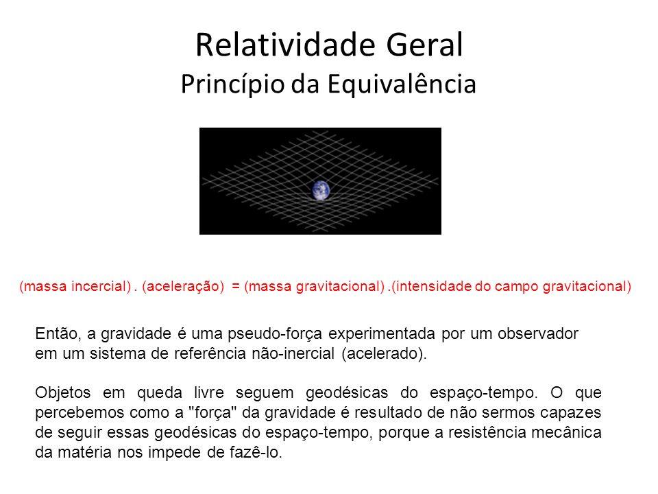 Relatividade Geral Princípio da Equivalência (massa incercial). (aceleração) = (massa gravitacional).(intensidade do campo gravitacional) Então, a gra