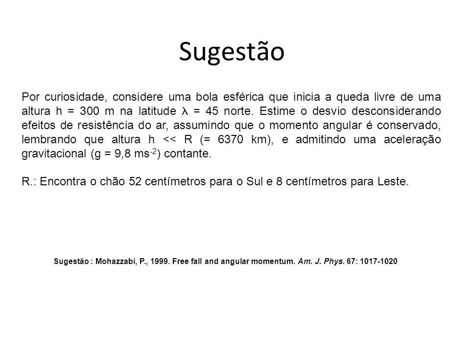 Sugestão Sugestão : Mohazzabi, P., 1999. Free fall and angular momentum. Am. J. Phys. 67: 1017-1020 Por curiosidade, considere uma bola esférica que i