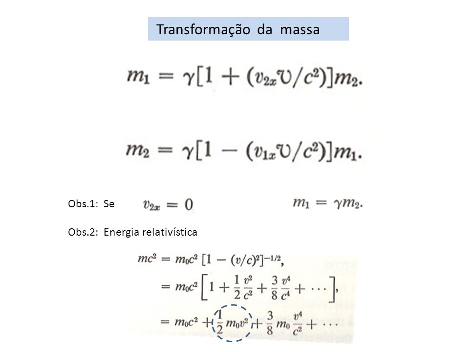 Transformação da massa Obs.1: Se então Obs.2: Energia relativística