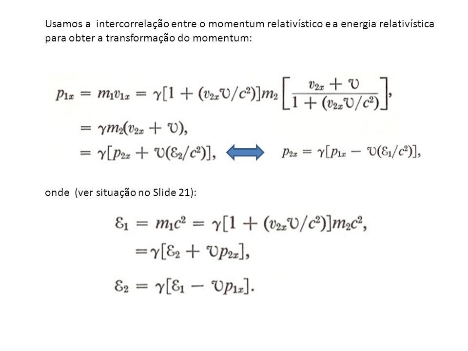 Usamos a intercorrelação entre o momentum relativístico e a energia relativística para obter a transformação do momentum: onde (ver situação no Slide