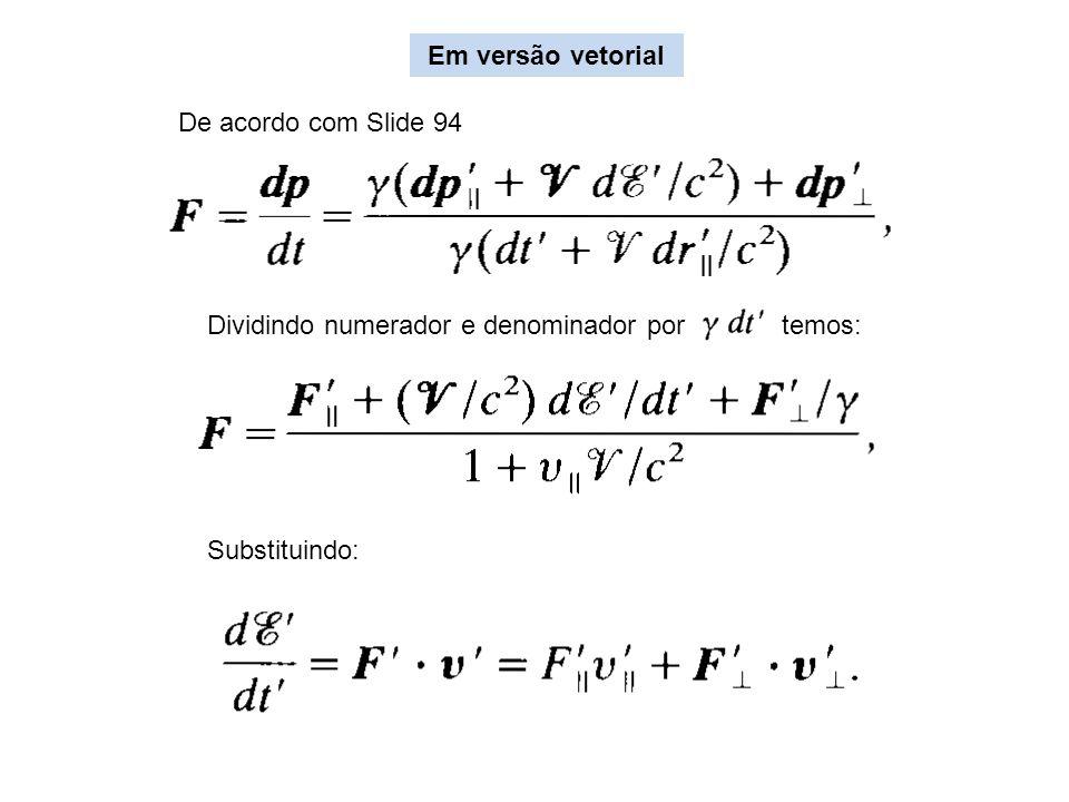 Dividindo numerador e denominador por temos: Substituindo: Em versão vetorial De acordo com Slide 94