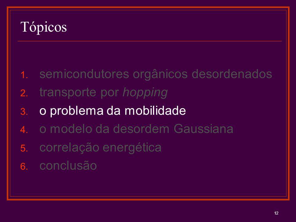 12 Tópicos 1. semicondutores orgânicos desordenados 2. transporte por hopping 3. o problema da mobilidade 4. o modelo da desordem Gaussiana 5. correla
