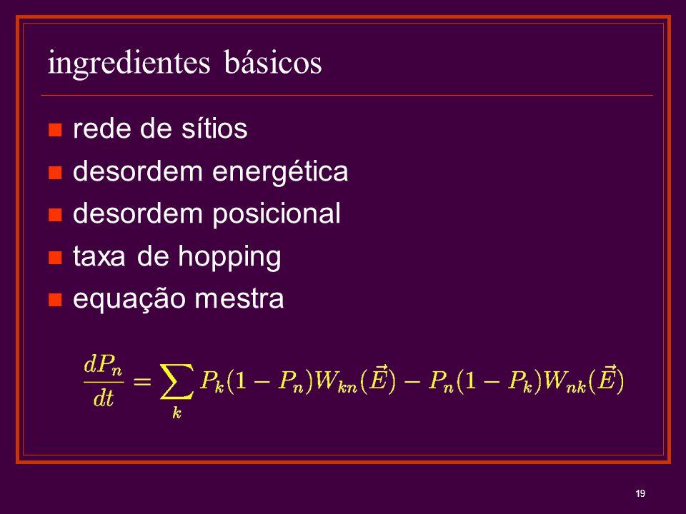 19 ingredientes básicos rede de sítios desordem energética desordem posicional taxa de hopping equação mestra