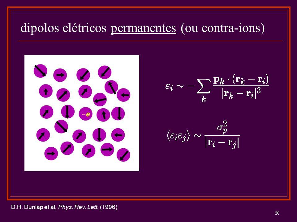 26 dipolos elétricos permanentes (ou contra-íons) D.H. Dunlap et al, Phys. Rev. Lett. (1996)