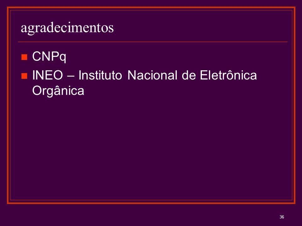 36 agradecimentos CNPq INEO – Instituto Nacional de Eletrônica Orgânica