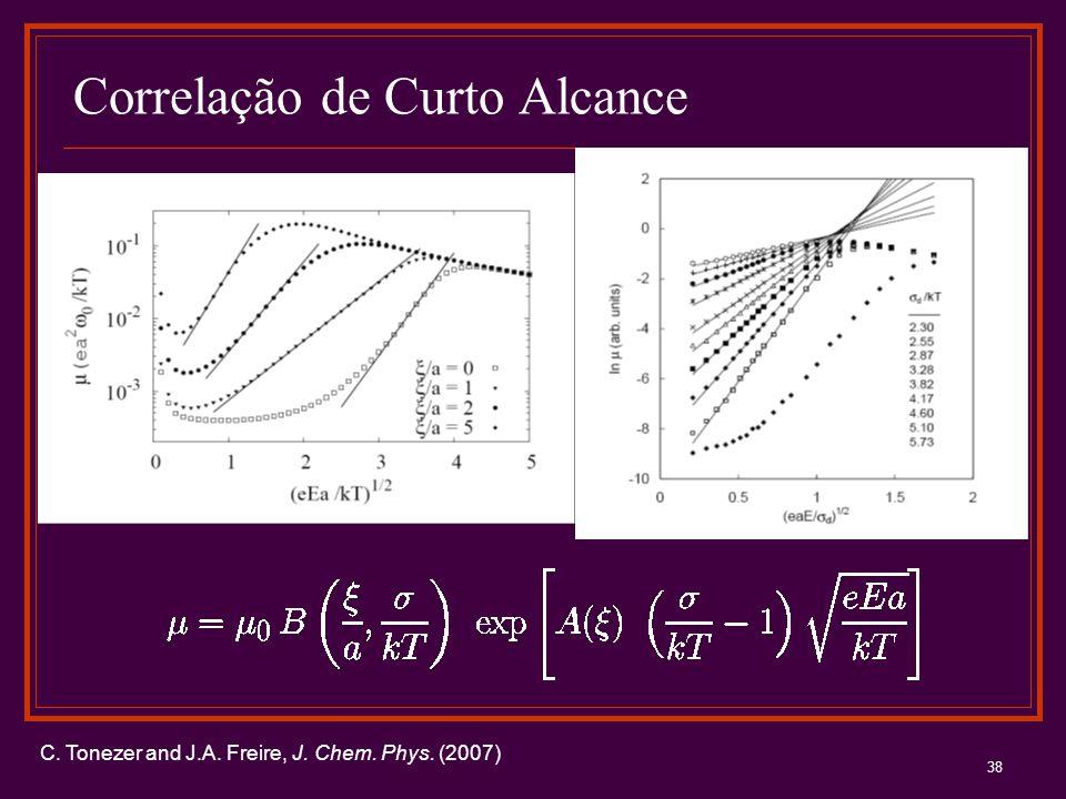 38 Correlação de Curto Alcance C. Tonezer and J.A. Freire, J. Chem. Phys. (2007)