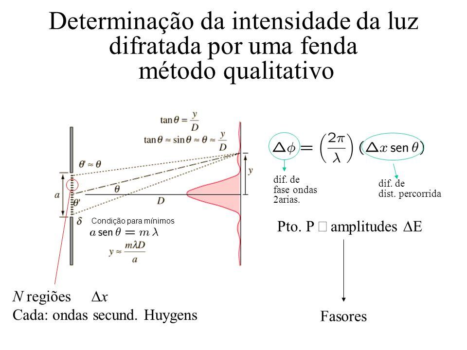 Determinação da intensidade da luz difratada por uma fenda método qualitativo Condição para mínimos N regiões x Cada: ondas secund. Huygens Pto. P amp