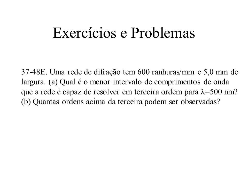 Exercícios e Problemas 37-48E. Uma rede de difração tem 600 ranhuras/mm e 5,0 mm de largura. (a) Qual é o menor intervalo de comprimentos de onda que
