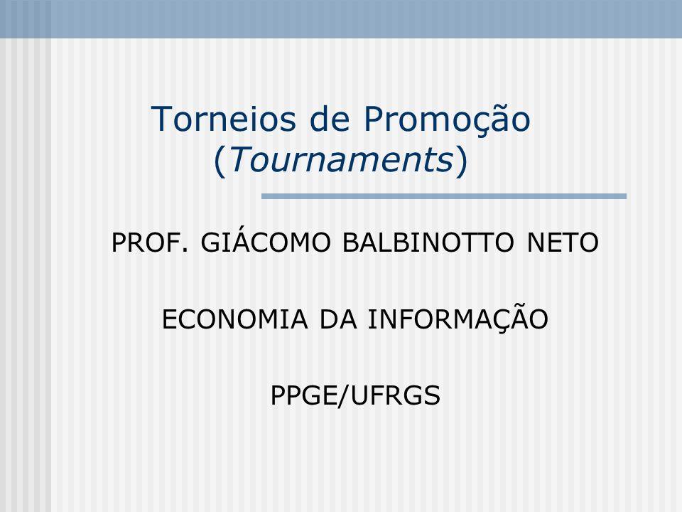 132 Principais pontos da teoria dos torneios de promoção 8 – As promoções internas ocorridas no sistema de torneios de promoção tendem a produzir efeitos favoráveis com relação aos incentivos, mas pode levar, ela mesma, a um conluio entre os agentes.