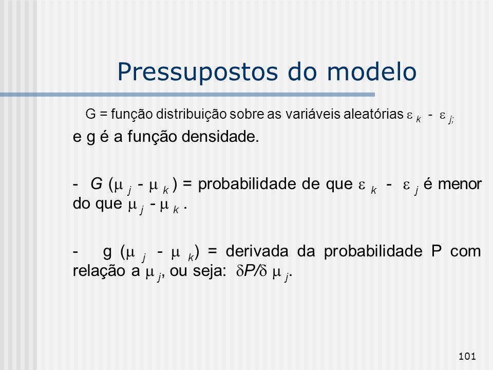 101 Pressupostos do modelo G = função distribuição sobre as variáveis aleatórias k - j; e g é a função densidade. - G ( j - k ) = probabilidade de que