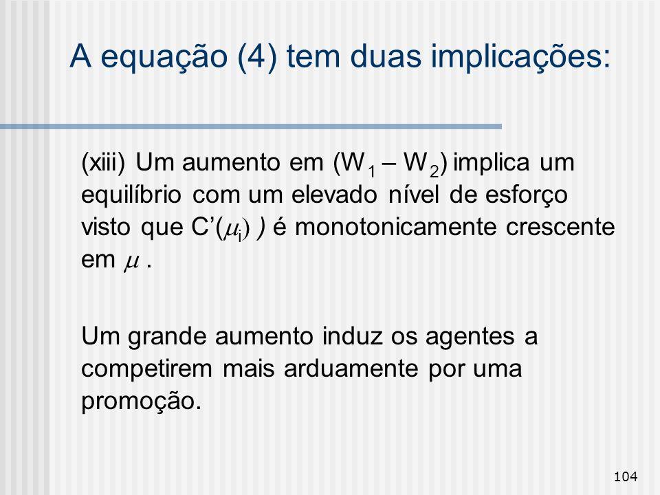 104 A equação (4) tem duas implicações: (xiii) Um aumento em (W 1 – W 2 ) implica um equilíbrio com um elevado nível de esforço visto que C( i ) é mon