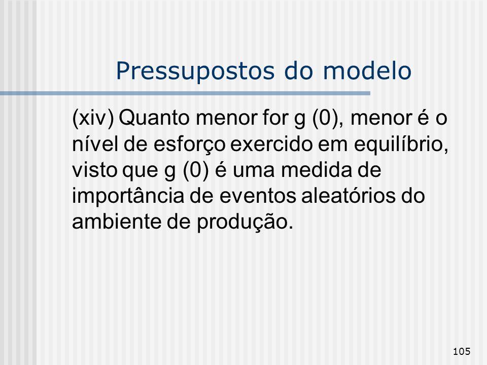 105 Pressupostos do modelo (xiv) Quanto menor for g (0), menor é o nível de esforço exercido em equilíbrio, visto que g (0) é uma medida de importânci