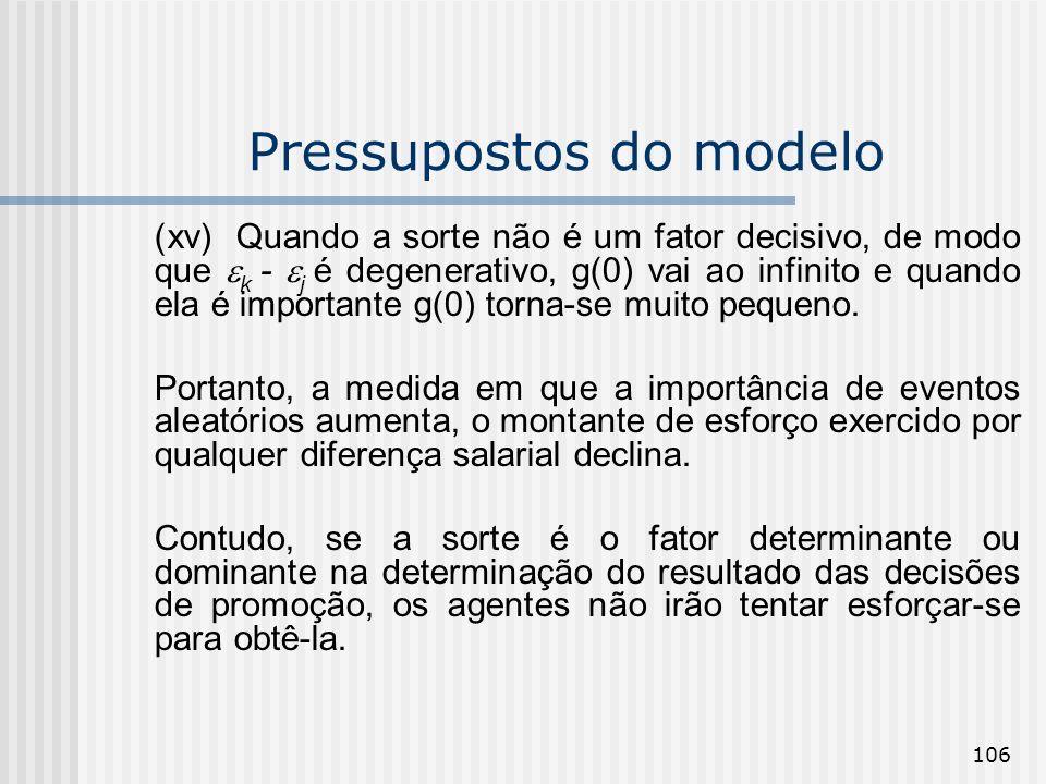 106 Pressupostos do modelo (xv) Quando a sorte não é um fator decisivo, de modo que k - j é degenerativo, g(0) vai ao infinito e quando ela é importan