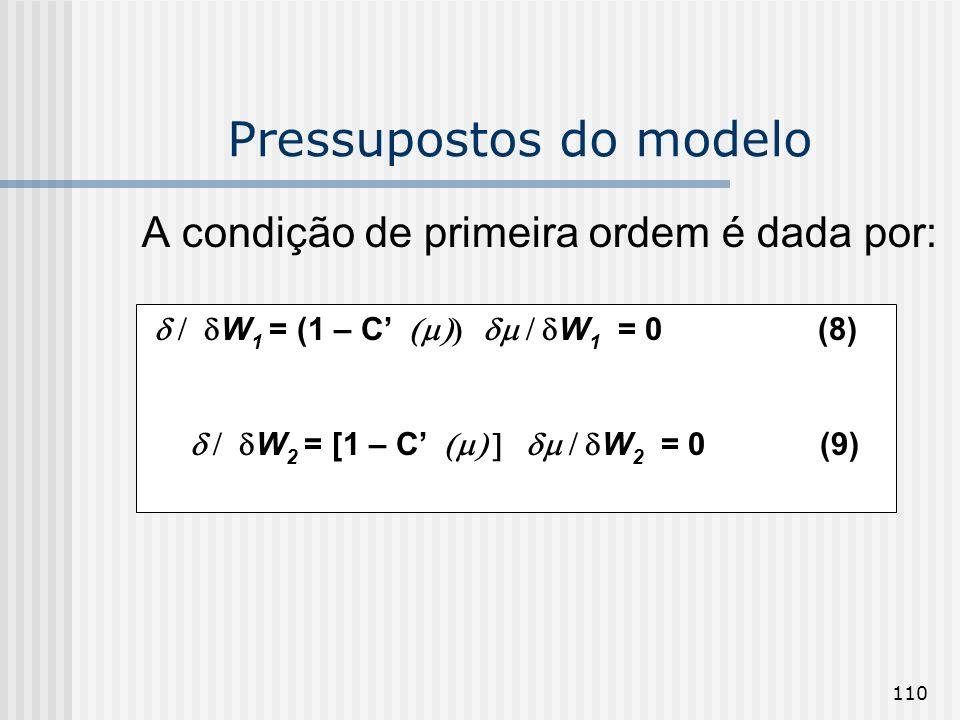 110 Pressupostos do modelo A condição de primeira ordem é dada por: W 1 = (1 – C W 1 = 0(8) W 2 = [1 – C W 2 = 0 (9)