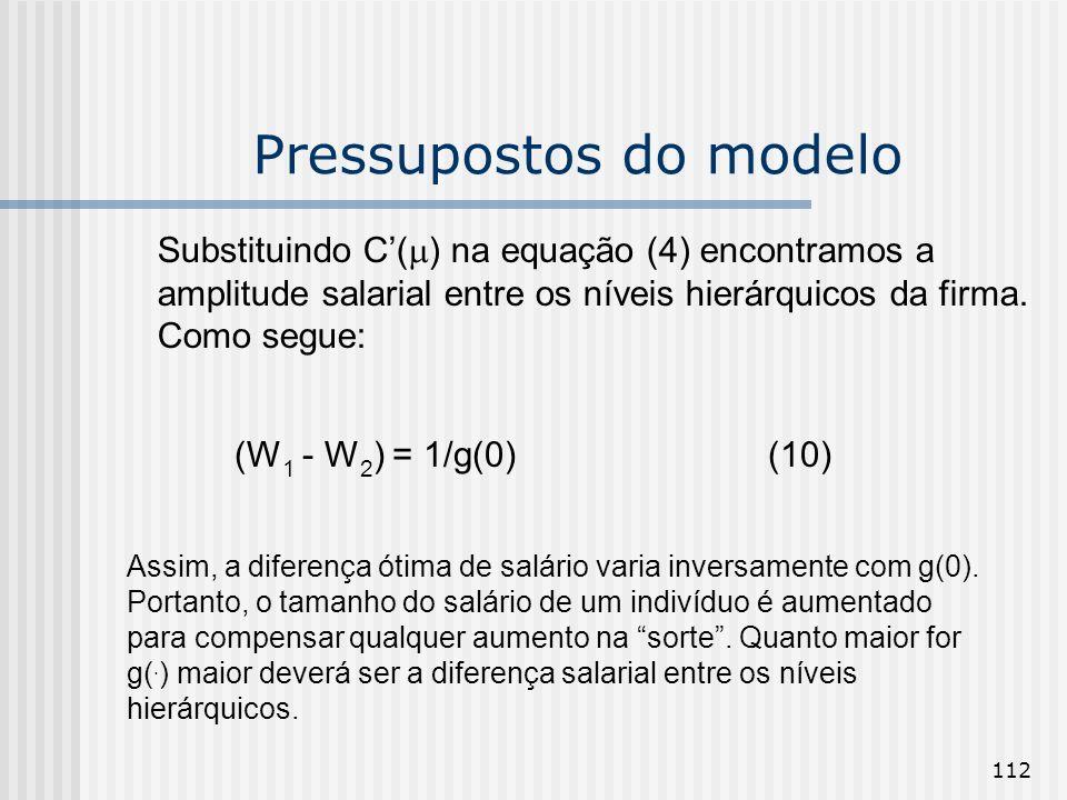 112 Pressupostos do modelo Substituindo C( ) na equação (4) encontramos a amplitude salarial entre os níveis hierárquicos da firma. Como segue: (W 1 -