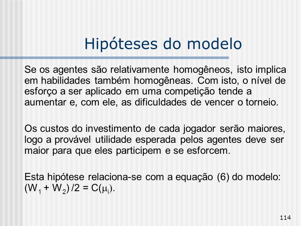 114 Hipóteses do modelo Se os agentes são relativamente homogêneos, isto implica em habilidades também homogêneas. Com isto, o nível de esforço a ser